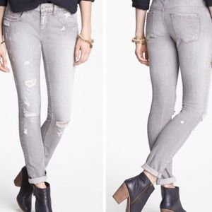 Free People Gray Distressed Skinny Jeans